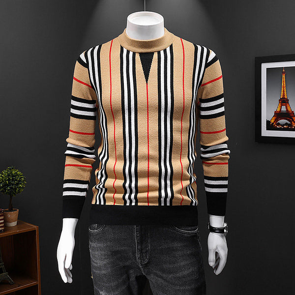 2020 New Fashion Grid Printed Men's knitted Casual Sweater