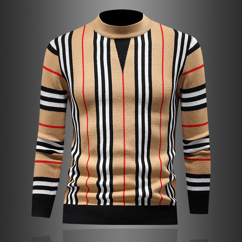 2021 New Fashion Grid Printed Men's knitted Casual Sweater