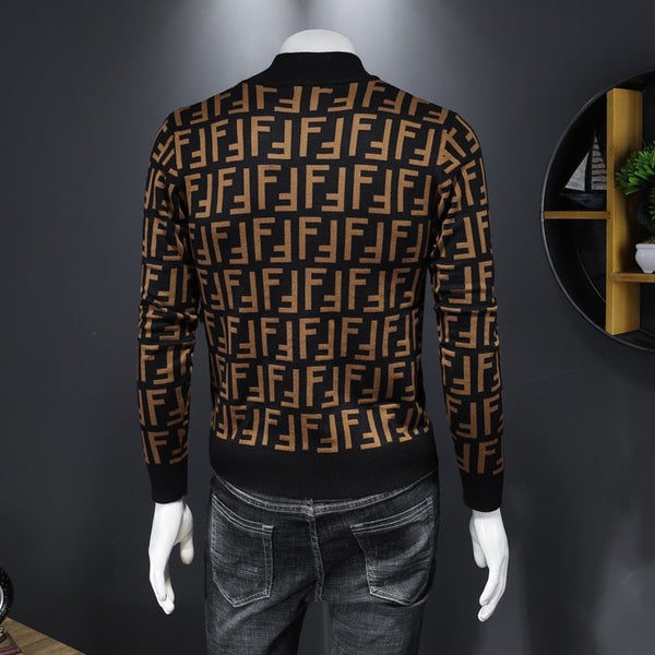 Men's Fashion Round Neck Printed Casual Sweater