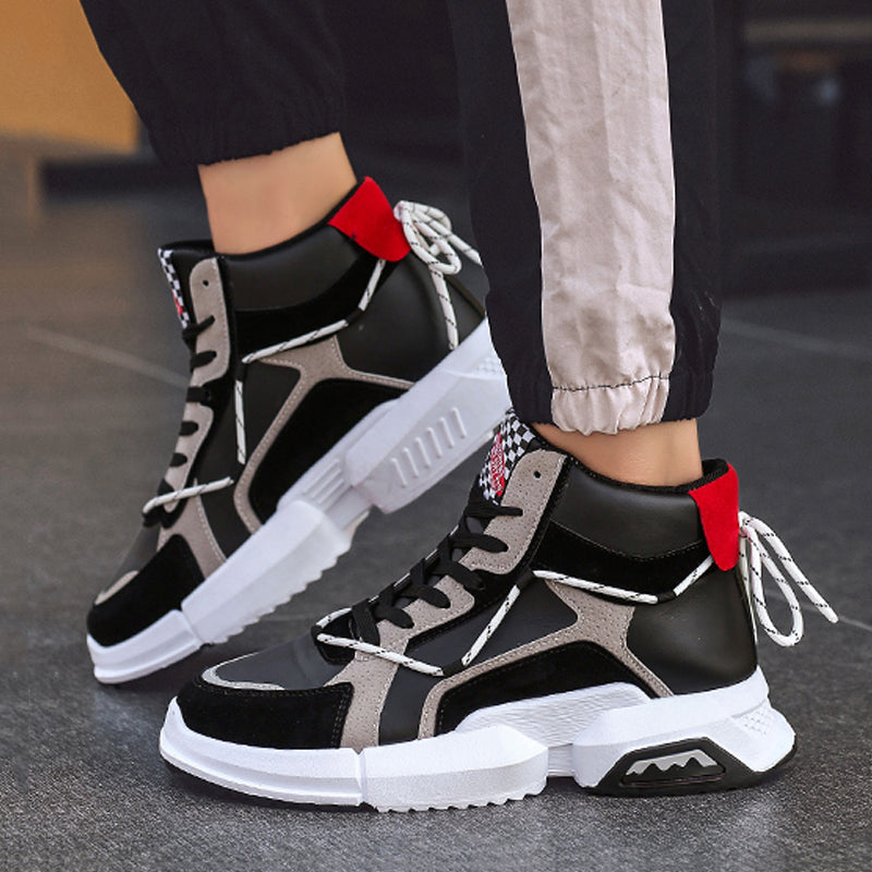 Leather Lace Up High-top Men's Sneakers