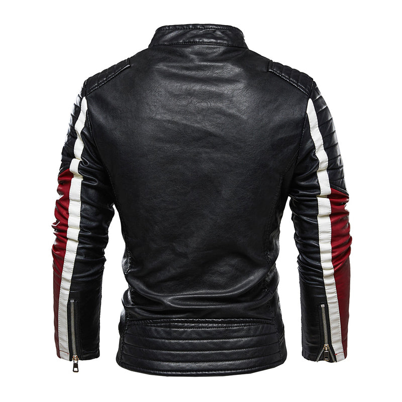 Fashion Men's Leather Jacket With Zipper