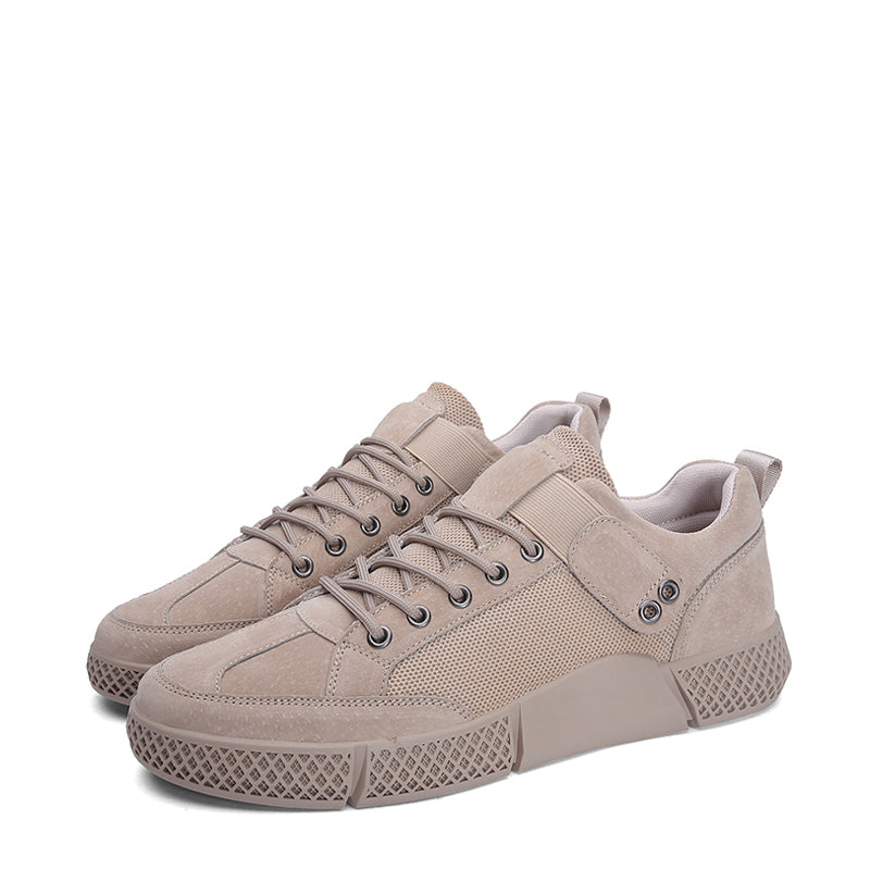 Pig Skin Lace Up Breathable Men's Sneakers