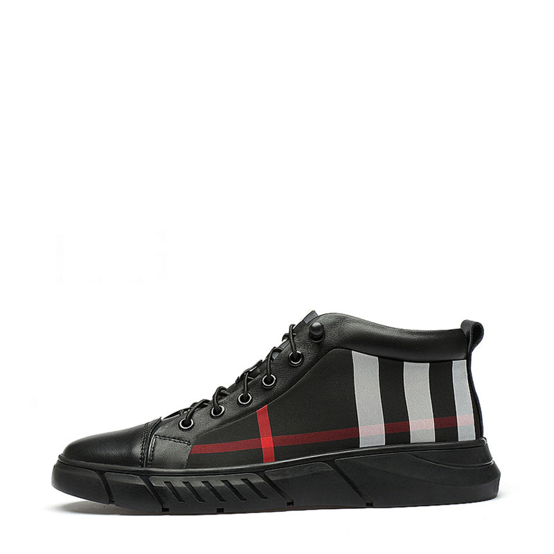 Cowhide Lace Up High-top Men's Sneakers