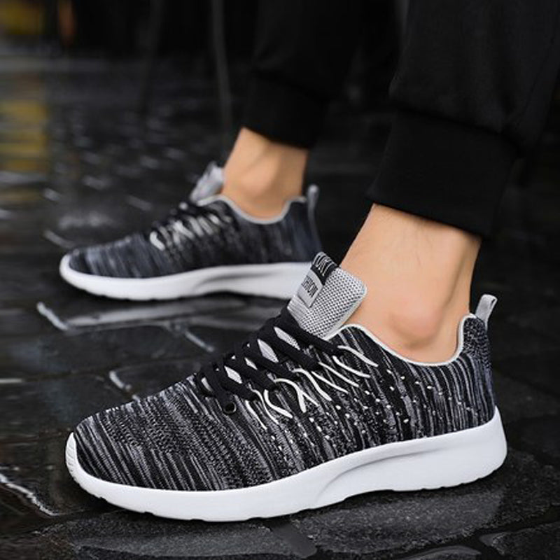 Knitted Fabric Lace Up Breathable Men's Sneakers