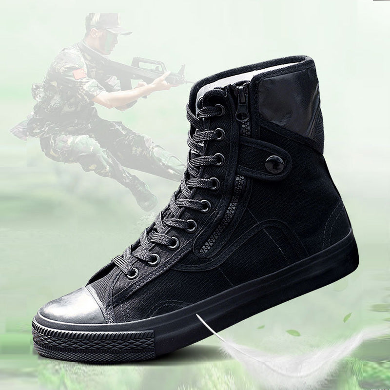 Black Canvas Lace Up Training Men's Boots