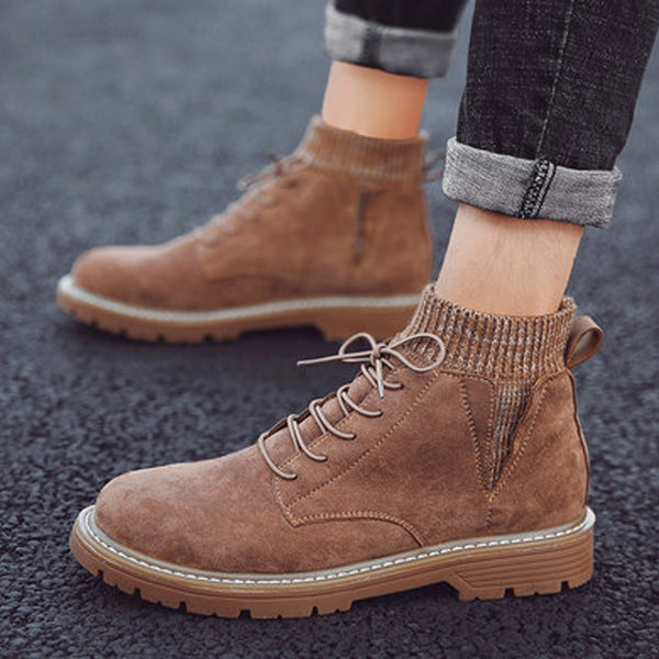 Pigskin Leather Lace Up High-top Men's Boots