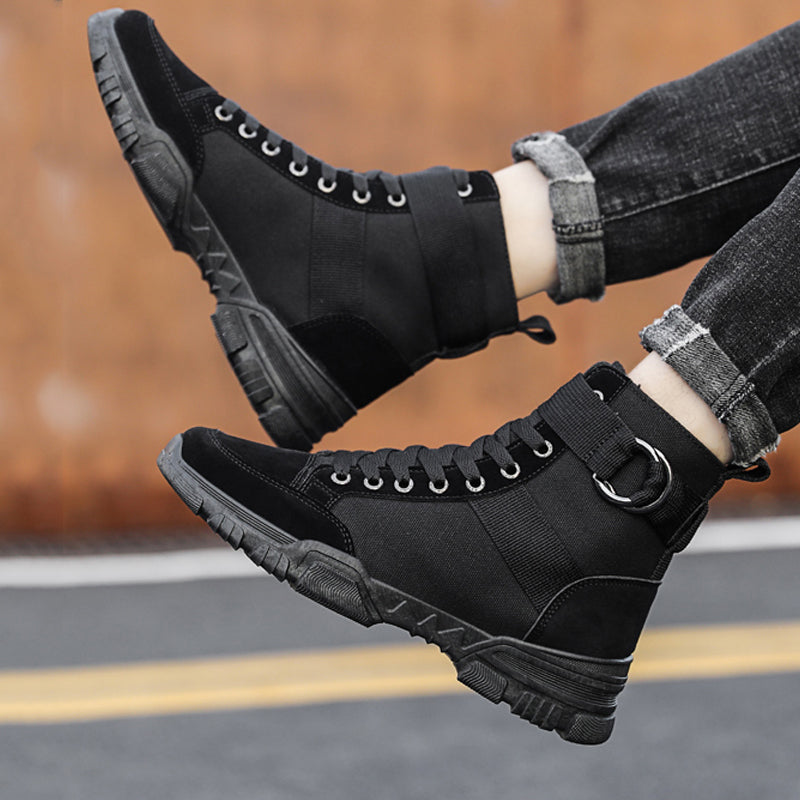 Canvas Cloth Lace Up Men's Boots