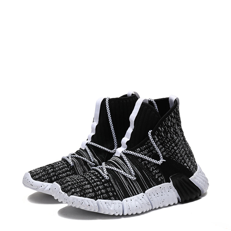 Knitted Fabric Lace Up High-top Men's Sneakers