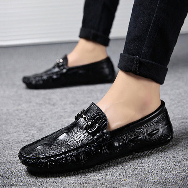 Black Cowhide Slip On Men's Loafers