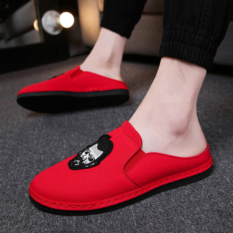Canvas Cloth Slip On Men's Slippers