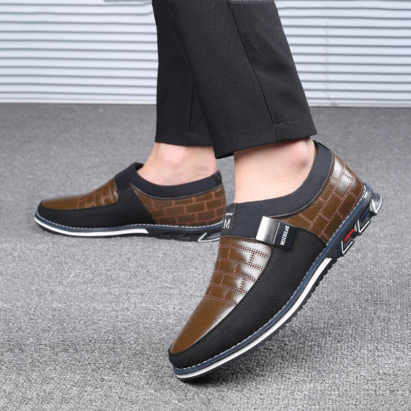 Breathable Cow Leather Slip On Men's Sneakers