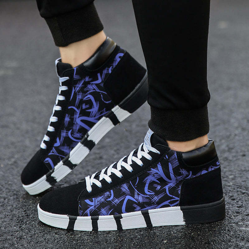 Canvas Cloth Lace Up High-top Men's Boots