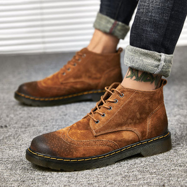 Cowhide Lace Up High-top Men's Boots