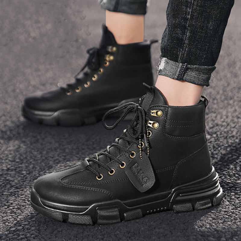 Space Leather Lace Up Men's Boots