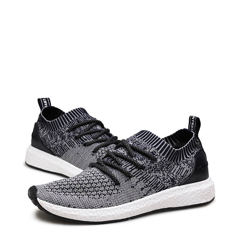 Knitted Fabric Lace Up Runing Men's Sneakers