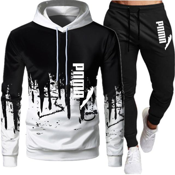 Casual Tracksuit Men 2 Pieces Sets Hooded Sweatshirts + Pants