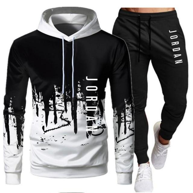 2021 Fashion Brand Casual Tracksuit Mens Patchwork Hoodie Pants