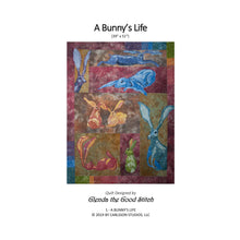 Load image into Gallery viewer, Front cover of a Bunny's Life raw edge applique pattern cover by Glenda The Good Stitch
