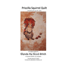 Load image into Gallery viewer, Front cover of Priscilla Squirrel raw edge applique pattern cover by Glenda The Good Stitch