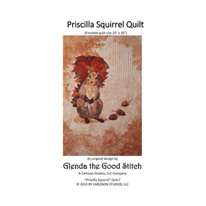 Front cover of Priscilla Squirrel raw edge applique pattern cover by Glenda The Good Stitch