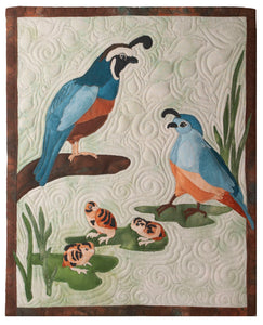 Quail family raw edge applique quilt pattern by Glenda The Good Stitch
