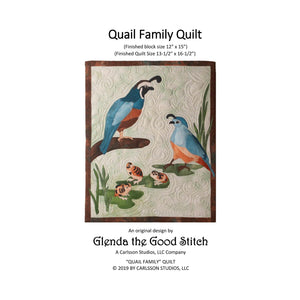 Front cover of Quail Family raw edge applique pattern cover by Glenda The Good Stitch