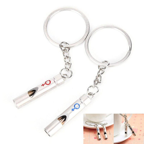 2 Pcs/Set 1 Pair Couple I LOVE YOU Letter Keychain Heart Key Ring Silvery Lovers Key Chain Valentine's Day gift-Marks'Marketplace