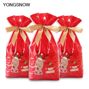 5Pcs Red Plastic Candy Bags Christmas Elk Candy Sweet Treat Bags-Marks'Marketplace