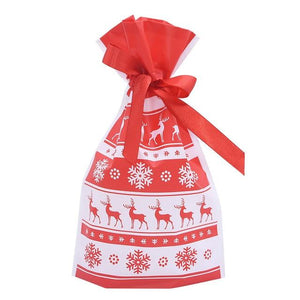 5Pcs Red Plastic Candy Bags Christmas Elk Candy Sweet Treat Bags