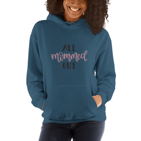 Image of All mommed out Women Hooded Sweatshirt Marks'Marketplace Indigo Blue S