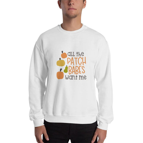 Image of All the patch babes want me Men Sweatshirt Marks'Marketplace White S