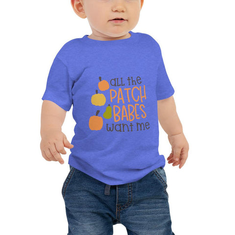 Image of All the patch babes want me Women Baby Jersey Short Sleeve Tee Marks'Marketplace Heather Columbia Blue 6-12m
