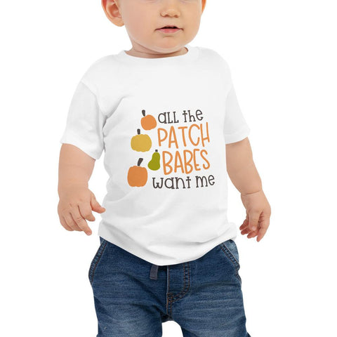 Image of All the patch babes want me Women Baby Jersey Short Sleeve Tee Marks'Marketplace White 6-12m
