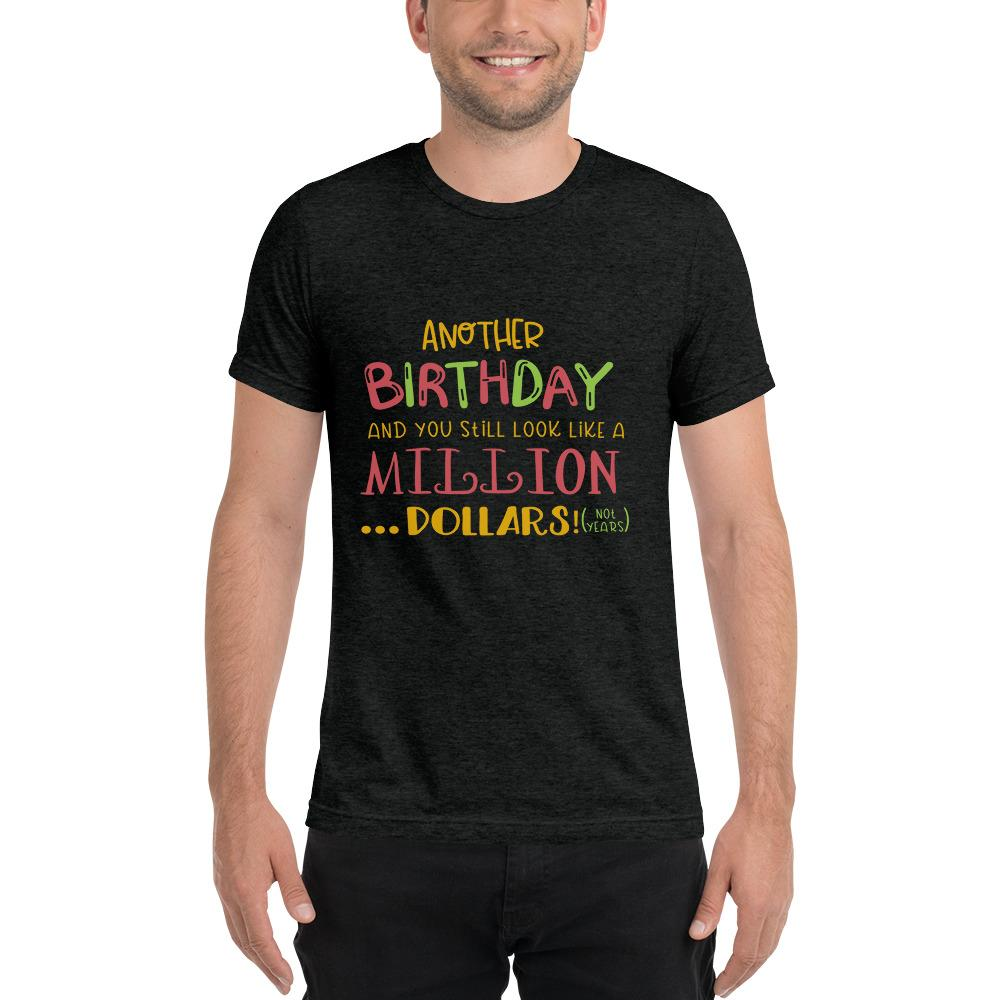 Another Birthday Short sleeve t-shirt Marks'Marketplace Charcoal-Black Triblend XS