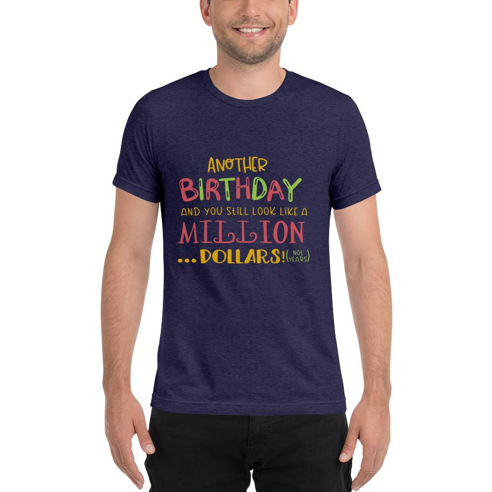 Another Birthday Short sleeve t-shirt Marks'Marketplace Navy Triblend XS