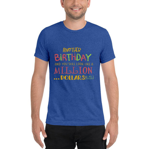 Image of Another Birthday Short sleeve t-shirt Marks'Marketplace True Royal Triblend XS