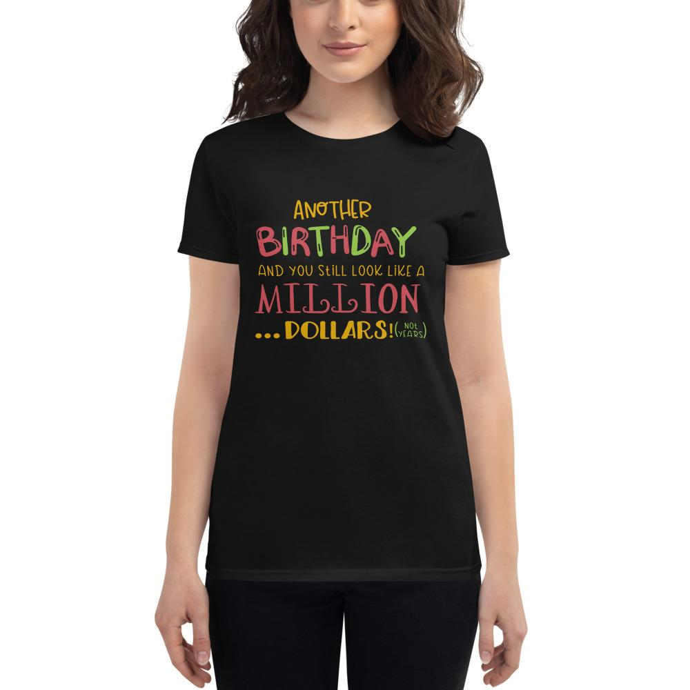 Another Birthday Women's short sleeve t-shirt Marks'Marketplace Black S