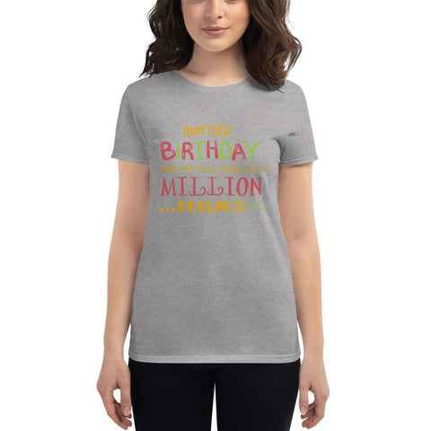 Image of Another Birthday Women's short sleeve t-shirt Marks'Marketplace Heather Grey S
