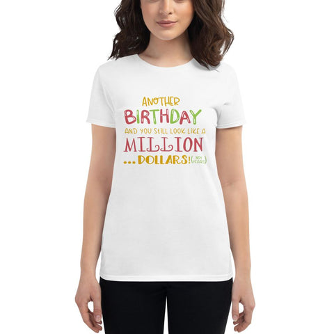 Image of Another Birthday Women's short sleeve t-shirt Marks'Marketplace White S