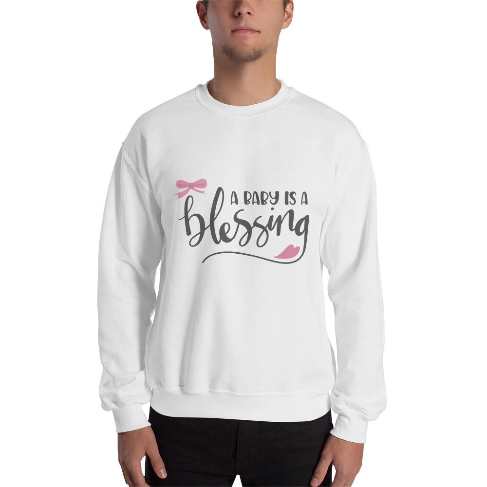 Baby is a Blessing Sweatshirt Marks'Marketplace White S