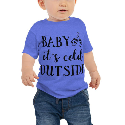 Image of Baby It's Cold Outside Baby Jersey Short Sleeve Tee Marks'Marketplace Heather Columbia Blue 6-12m