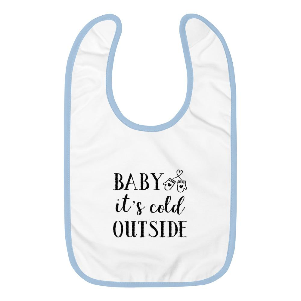 Baby It's Cold Outside Embroidered Baby Bib Marks'Marketplace White / Light Blue