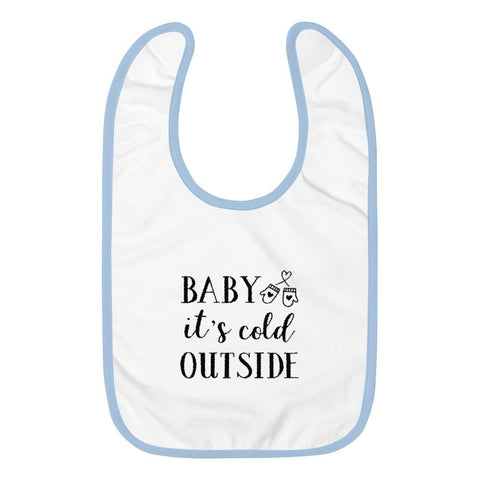 Image of Baby It's Cold Outside Embroidered Baby Bib Marks'Marketplace White / Light Blue