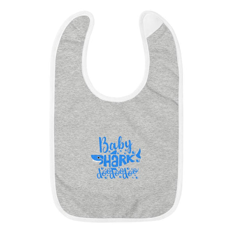 Image of Baby Shark Blue Embroidered Baby Bib Marks'Marketplace Heather Gray / White