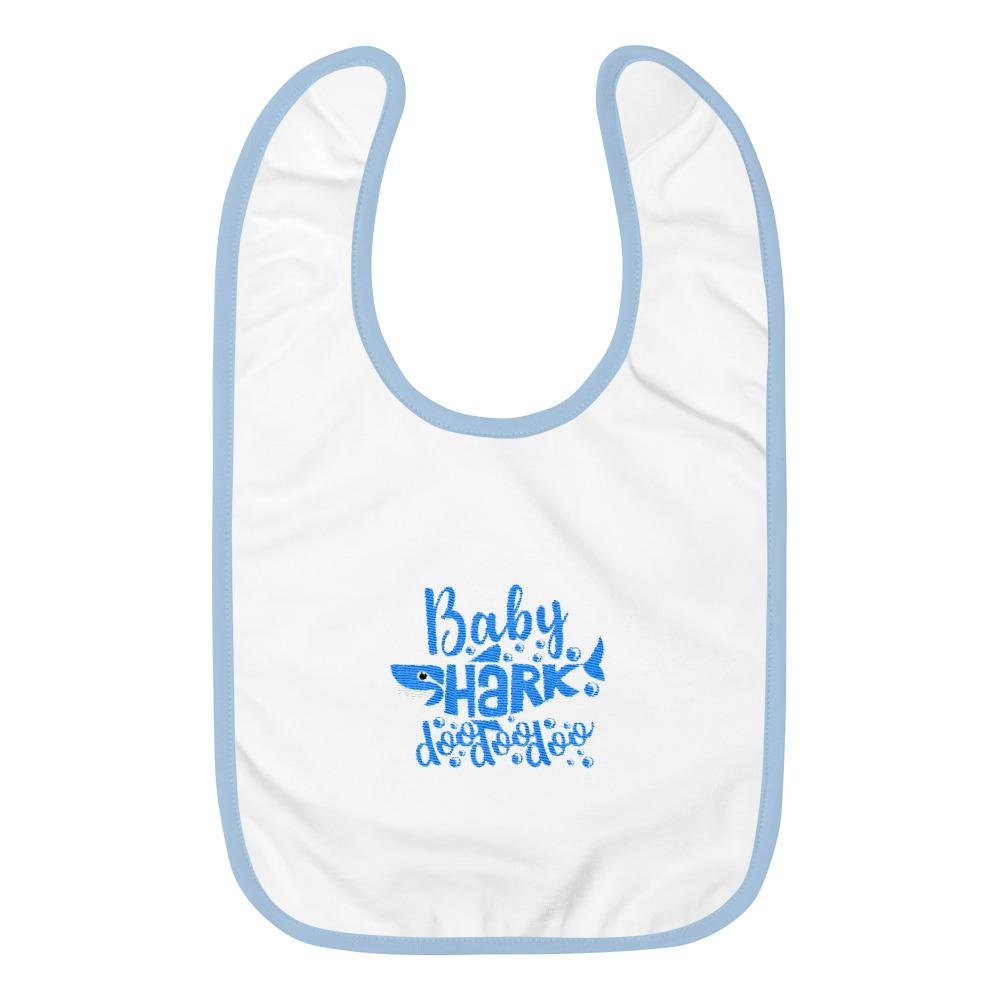 Baby Shark Blue Embroidered Baby Bib Marks'Marketplace White / Light Blue