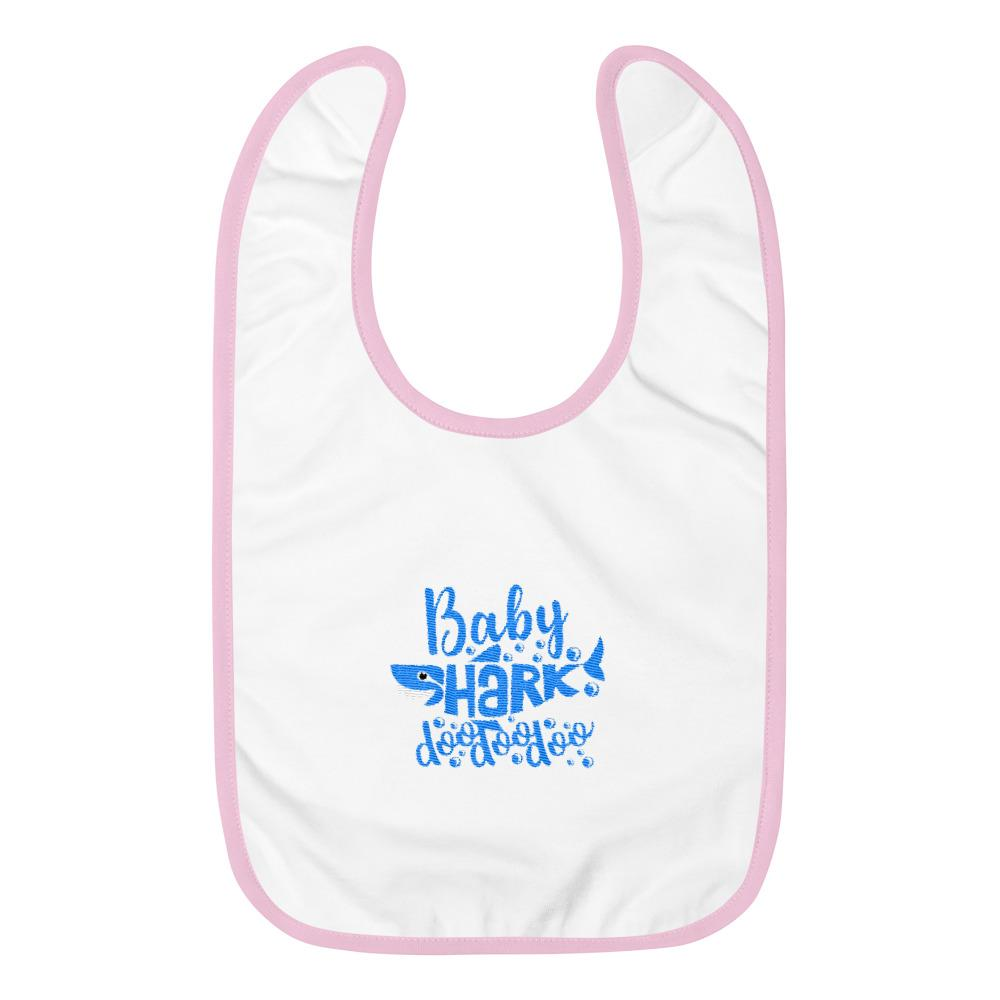 Baby Shark Blue Embroidered Baby Bib Marks'Marketplace White / Pink