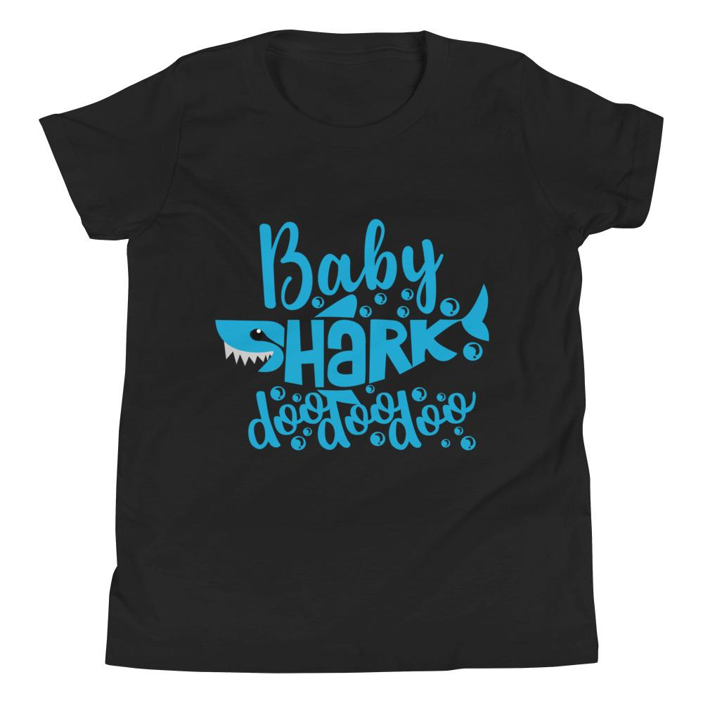 Baby Shark Blue Youth Short Sleeve T-Shirt Marks'Marketplace Black S