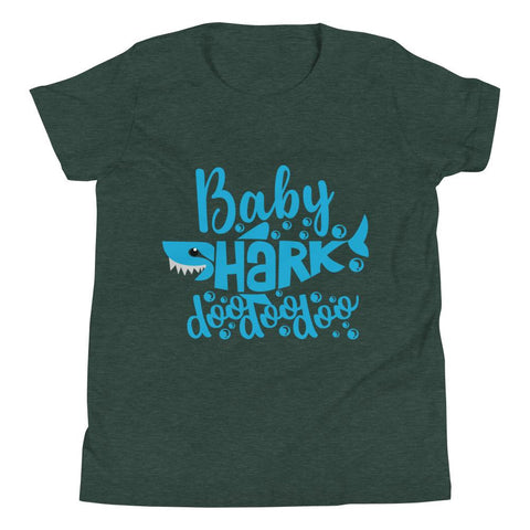 Image of Baby Shark Blue Youth Short Sleeve T-Shirt Marks'Marketplace Heather Forest S