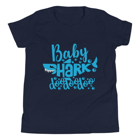 Image of Baby Shark Blue Youth Short Sleeve T-Shirt Marks'Marketplace Navy S