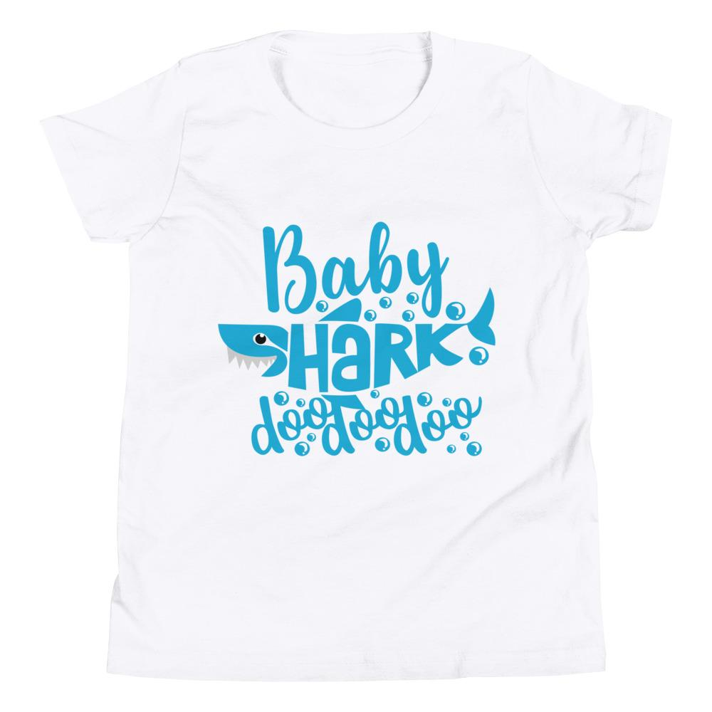Baby Shark Blue Youth Short Sleeve T-Shirt Marks'Marketplace White S